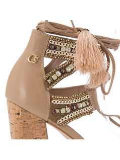 Strappy sandal with cork heel and studding back