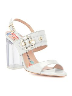 Silicone heel sandal with a crystal buckle front