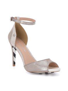 Metallic ankle strap sandal front