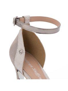 Metallic ankle strap sandal back
