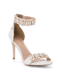 Ankle strap sandal with crystals front