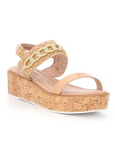 Platform sandal with chain detail front