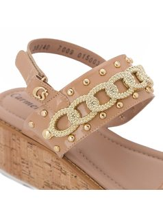 Platform sandal with chain detail back