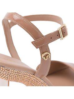 T-strap sandal with crystals on platform