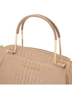 Handbag with slim metal handle back