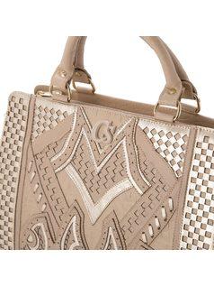 Handbag with laser-cut front back