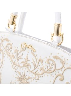 Handbag with embroidery and studs