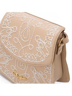 Crossbody bag with ebroidery back