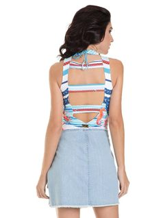 Printed halter bodysuit