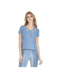 Denim top with metal details