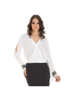 Blouse with cuffed sleave front