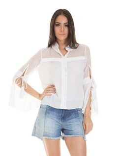 Blouse with bell sleave and tassles front