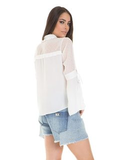 Blouse with bell sleave and tassles back
