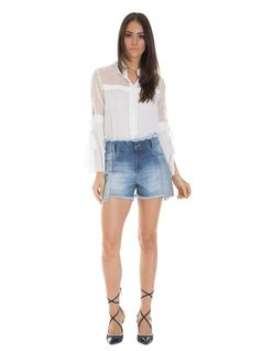 Denim patch shorts