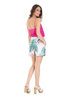 Printed shorts with belt back