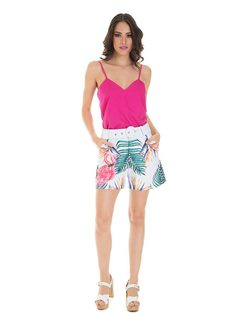 Printed shorts with belt front