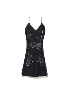 Little black dress with sequin embroidery