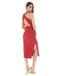 Knitted midi dress with side opening