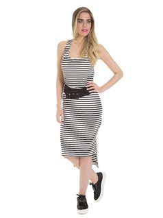 Stripped midi dress with belt front