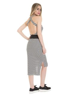 Stripped midi dress with belt back
