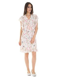 Floral print midi dress with frills front