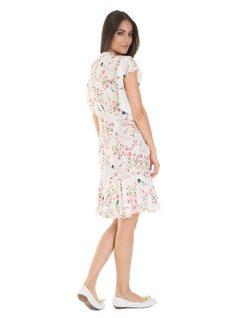 Floral print midi dress with frills back