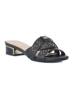 LEATHER BRAIDED STRAPS SLIP ON SANDALS front