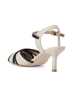 CROSSED FRONT MID HEELED SANDALS