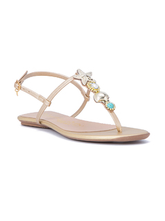 T STRAP SANDALS WITH METALIC SHELLS