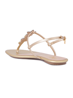 T STRAP SANDALS WITH METALIC SHELLS back
