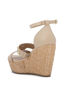 CORK WEDGE HIGH HEELED SANDALS back