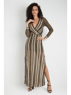 STRIPED KNIT DRESS front