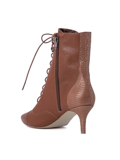 LACED LEATHER HIGH-HEEL ANKLE BOOTS back