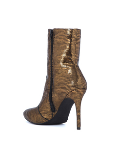 ANTIQUE GOLD LEATHER HIGH HEELED BOOTS back