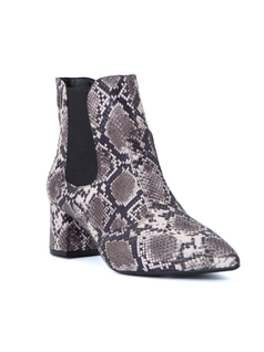 FAUX LIZARD PRINT ANKLE BOOTS front