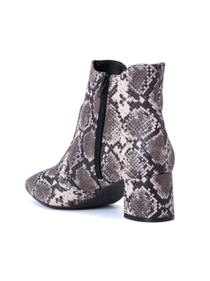 FAUX LIZARD PRINT ANKLE BOOTS back