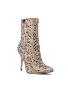 SNAKE PRINTED LEATHER HIGH HEELD BOOT front