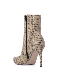 SNAKE PRINTED LEATHER HIGH HEELD BOOT back