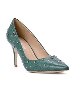 Green Pump with Studs front