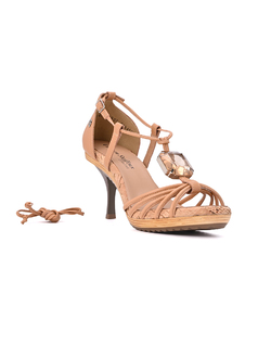 NUDE HEELED SANDALS WITH STONE