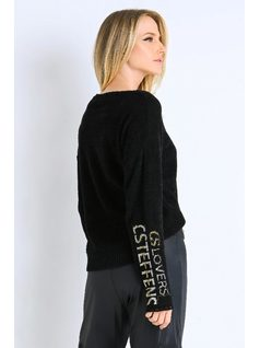 Black Knit with CS Metalic Embroidered back