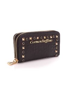 Black Wallet with Zipper back
