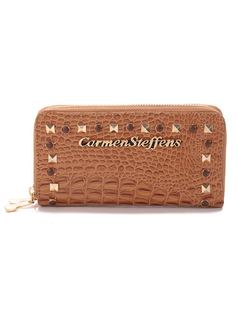 ZIPPER WALLET WITH METAL APPLIQUE front