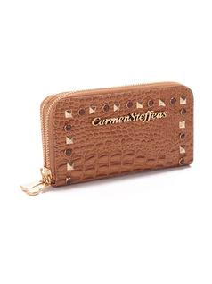 ZIPPER WALLET WITH METAL APPLIQUE back