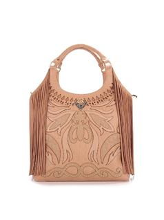 HANDBAG WITH METAL APPLIQUE AND FRINGES front