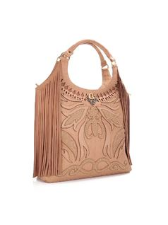 HANDBAG WITH METAL APPLIQUE AND FRINGES back