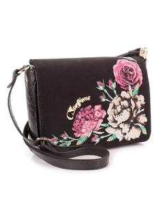 Black Flowers Handbag back