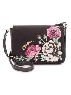 Black Flowers Handbag front