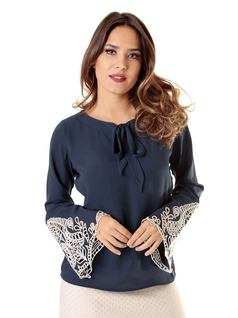 Navy Crepe Blouse front