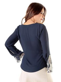 Navy Crepe Blouse back